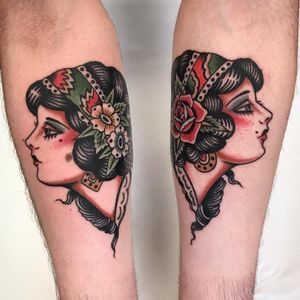 Ladies lookin up. Tattoo by Andrea Giulimondi #andreagiulimondi #besttattoos #color #traditional #lady #ladyhead #matchingtattoos #rose #flowers #floral