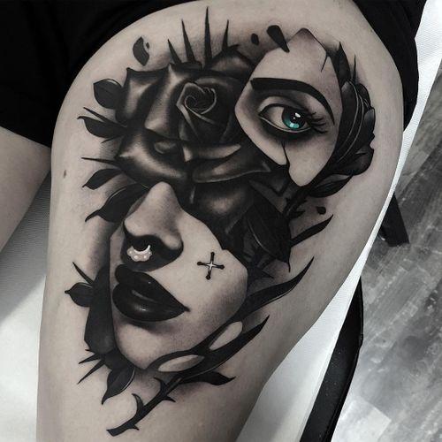 Tattoo by Cristian Casas #CristianCasas #tattoodoambassador #neotraditional #darkart #rose #flower #floral #leaves #thorns #lady #portrait #surreal #whiteink #eye #lips #pearls #star