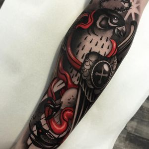 Tattoo by Cristian Casas #CristianCasas #tattoodoambassador #neotraditional #darkart #blackandgrey #color #redink #whiteink #falcon #star #snake #reptile #armor #shield #feathers #wings