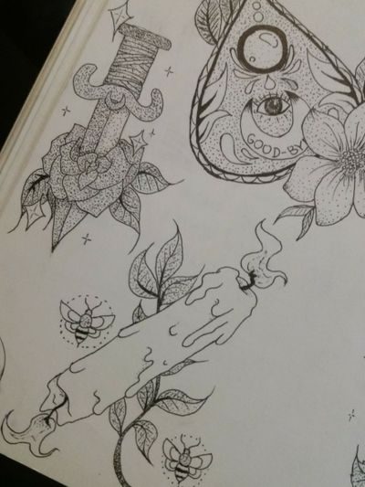 My artwork (ig: @angry.vegan) #witch #witchy #ouija #planchette #candle #fire #rose #flowers #flower #knife #dagger #neotraditionaltattoos #neotraditionaltattoo #neotraditional #blackwork #pointilism