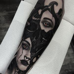 Tattoo by Cristian Casas #CristianCasas #tattoodoambassador #neotraditional #darkart #skull #death #tears #lady #portrait #ladyhead #face #whiteink #broken #rope #shapes #surreal