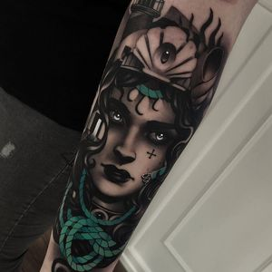 Tattoo by Cristian Casas #CristianCasas #tattoodoambassador #neotraditional #darkart #blackandgrey #portrait #lady #ladyhead #rope #shell #thirdeye #cross #pearls #lighthouse #shell #nature