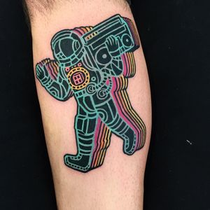 Boombox blaring spaceman tattoo by Raro82 #raro82 #80stattoo #color #newschool #spaceman #astronaut #scifi #space #moonman #boombox #stereo #musictattoo