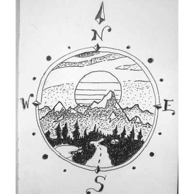 The mountains are calling and I must go. #travel #traveltattoo #mountains #sunset #colorado #utah #forest #roadtrip #lineart #tattoostyle #tattoosketch #compass #compasstattoo #north #west #dotworktattoo #vandwelling #nature #dotworktattoo #lineworktattoo #mountaintattoo