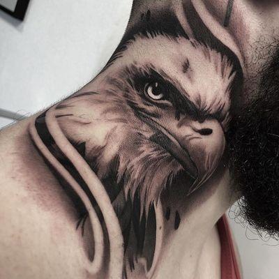 Tattoo by Cristian Casas #CristianCasas #tattoodoambassador #neotraditional #eagle #necktattoo #bird #feathers
