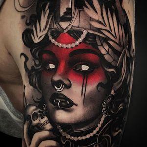 Tattoo by Cristian Casas #CristianCasas #tattoodoambassador #darkart #color #blackandgrey #redink #darkart #neotraditional #vampire #lady #ladyhead #portrait #whiteink #skull #death #pearls #crown