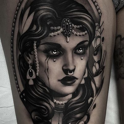 Tattoo by Cristian Casas #CristianCasas #tattoodoambassador #darkart #neotraditional #portrait #lady #ladyhead #frame #pearls #tears #blackandgrey #whiteink #crown #flowers #floral #leaves
