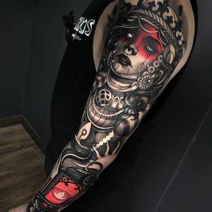 Tattoo by Cristian Casas #CristianCasas #tattoodoambassador #neotraditional #darkart #blackandgrey #redink #whiteink #portrait #lady #lantern #snake #reptile #sleeve #mask #pearls ##crown #tribal #fire #candle