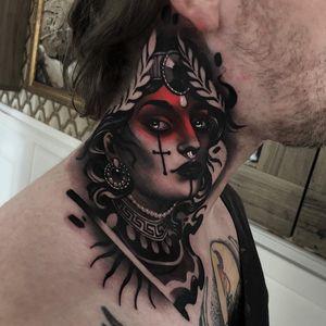 Tattoo by Cristian Casas #CristianCasas #tattoodoambassador #darkart #color #blackandgrey #redink #darkart #neotraditional #necktattoo #lady #ladyhead #portrait #whiteink #leaves #cross #pearls #crown