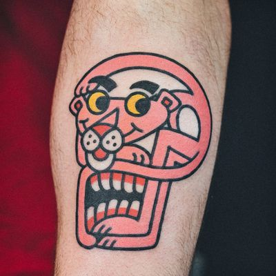 Pink Panther tattoo by Woo Loves You #WooLovesYou #pinkpanthertattoo #newschool #pinkpanther #panther #cat #skull #surreal #newtraditional #cartoon #tvshowtattoo