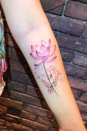 🐟#koi #koifish #lotus #watercolor #color #lotustattoo