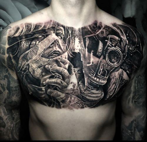 Chest progress #tattoo #tattoos #tattooartist #BishopRotary #BishopBrigade #BlackandGreytattoo #QuantumInk #ImmortalAlliance #SullenClothing #SullenArtCollective #Sullen #SullenFamily #TogetherWeRise #ArronRaw #RawTattoo #TattooLand #InkedMag #Inksav#BlackandGraytattoo #tattoodoapp #tattoodo #gasmask