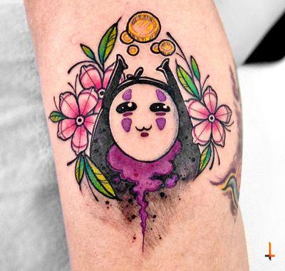Nº686 #tattoo #tattooed #ink #inked #girlswithtattoos #noface #nofacetattoo #spiritedaway #chihiro #hayaomyazaki #hayaomiyazakitattoo #kawaii #kawaiitattoo #cute #cuteness #cherryblossom #cherryblossomtattoo #stencilstuff #eztattooing #ezcartridges #cheyennetattooequipment #hawkpen #bylazlodasilva