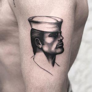 Tattoo by Jonathan McKenzie #jonathanmckenzie #pridemonth #pride #lgbtq #TomofFinland #blackandgrey #portrait