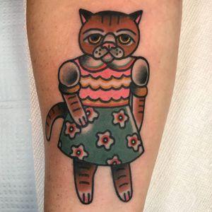 Tattoo by Julia Campione #juliacampione #queer #pridemonth #pride #lgbtq #cat #cute #flowers #kitty