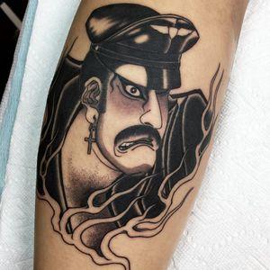 Tattoo by Acetates #acetates #pridemonth #pride #lgbtq #leatherdaddy #Japanese #mashup #fire #leather #bdsm