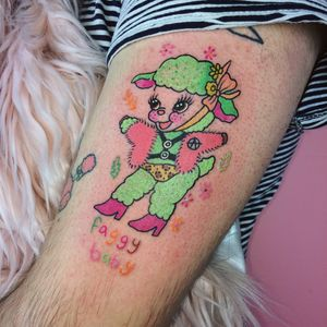 Tattoo by Charline Bataille #queer #queertattooer #pridemonth #pride #lgbtq #color #newschool #lamb #anarchy #cute #bdsm