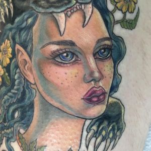 Tattoo by Analy aka analynakat #Analy #analynakat #qpocttt #qpoc #pridemonth #pride #lgbtq #portrait #lady #ladyhead