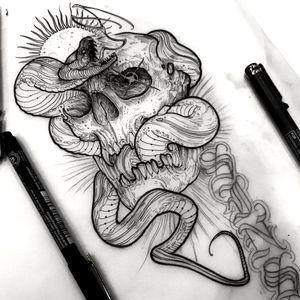 Skull and snake Craneo y serpiente