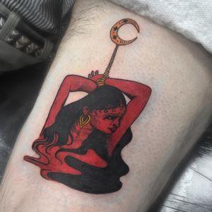 Tattoo by Sanyu #Sanyu #qpocttt #qpoc #pridemonth #pride #lgbtq #lady #portrait #illustrative #moon #redink #bondage #magic