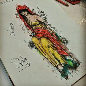 Sibila Mujeres en la historia Interpretacion. (Smooth paper, rapidografo y prismacolor) #drawing #drawfolio #sketchtattoo #sketch #sibila