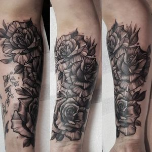 Stylised roses on  forearm (existing small tattoo not by me)