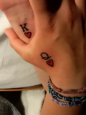 Lovers tattoo #hearttattoo #king #queen