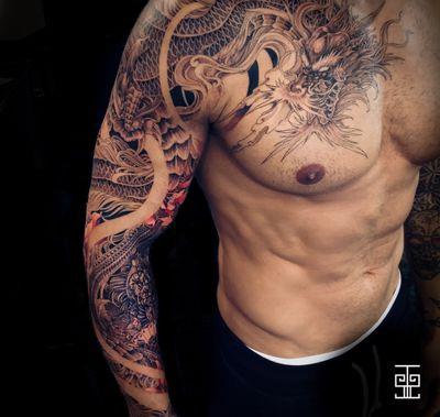 #dragon #dragontattoo #fullarm #japanese #japanesetattoo #asian #AsianTattoos #sakura #SakuraTattoo #lotus #lotustattoo #ornamental #Geisha #fullsleeve