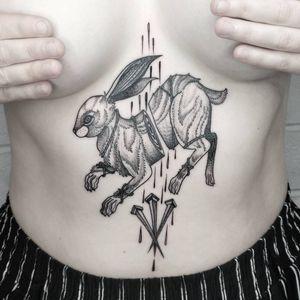 Tattoo by by Ciara Havishya #CiaraHavishya #Samsararat #qpocttt #qpoc #pridemonth #pride #lgbtq #rabbit #blood #tears #nails #bunny #bondage #animal #symbolism