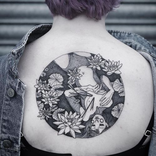 Tattoo by Ruby Wolfe #RubyWolfe #qpocttt #qpoc #pridemonth #pride #lgbtq #backpiece #backtattoo #lotus #flowers