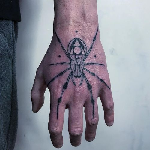 Tattoo by Mirko Sata #MirkoSata #satatttvision #linework #spider #linework #dotwork #triangle #shapes