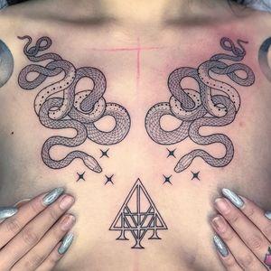 Tattoo by Mirko Sata #MirkoSata #satatttvision #linework #snake #snaketattoo #linework #reptile #serpent #stars #symbol #sigil