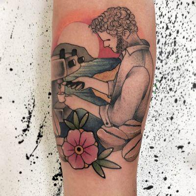 Badass Barista tattoo by Andrea Pinna Vespink #AndreaPinnaVespink #coffeetattoos #illustrative #coffee #barista #flowers #floral #coffeebeans #caffeine