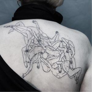 Bodies. Tattoo by Ruby Wolfe #RubyWolfe #surrealtattoos #surreal #linework #illustrative #fineline #bodies #strange