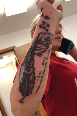 Feather cover-up w signature & dates