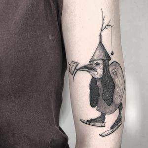 After Bosch. Tattoo by Vanpira #Vanpira #vanpriegonova #surrealtattoos #illustrative #Blackandgrey #hieronymusbosch #bosch #strange #duck #death #hell #demon #ghost #spirit #dream