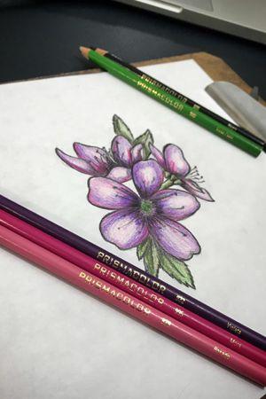 #cherryblossom #flowers #tattooartist #tattoodesign #design #prismacolor #work