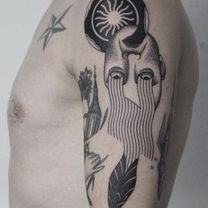 To be and become stranger. Tattoo by Niko. #Niko #nikobone #surrealtattoos #blackwork #linework #dotwork #eyes #snake #strange #surreal #portrait #shell #pattern #sun #reptile #serpent