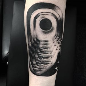 Whats within. Tattoo by Giena Todryk #GienaTodryk #taktoboli #surrealtattoos #blackandgrey #portrait #surreal #trippy #stars #eyes #blackhole