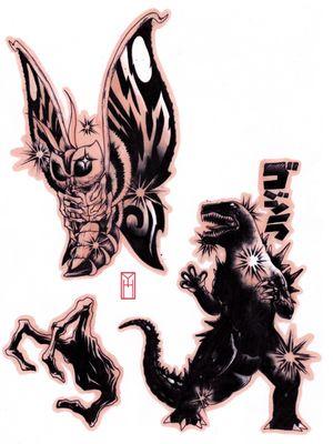 Godzilla & Mothra   Designed by me At L'Encrerie Paris Instagram: yokai.hermit