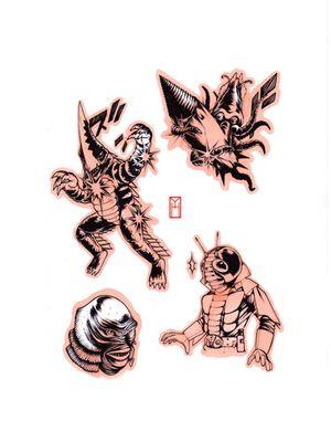 Sentaï & Kaiju  Designed by me At L'Encrerie Paris Instagram: yokai.hermit