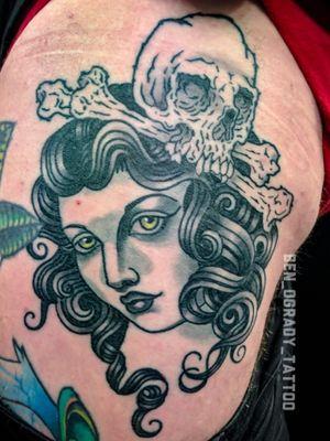 HEALED Girl head and skull on my mate and co worker @maskey_tattoos @stonehearttattoo #benogradygallery #ogradytattoo #benogradytattoo #benogrady #sydneytattooartist #australiantattooartist #ATG#australiantattooistsguild #Darlinghursttattoo #surreyhillstattoo #stoneheartbodyart#stonehearttattoo #neotraditional #neotraditionaltattoo #neotrad #boldwillhold #brightandbold #girlheadtattoo