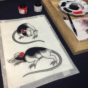Tattoo by Sergey Buslay #SergeyBuslay #tattoodoambassador #Japanese #irezumi #rat #animal #illustration #painting