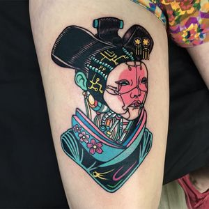 Ghost in the Shell geisha girl. Tattoo by raro82 #raro82 #favoritetattoos #color #newschool #illustrative #portrait #scifi #cherryblossoms #circuitboards #robot #ghostintheshell #geisha