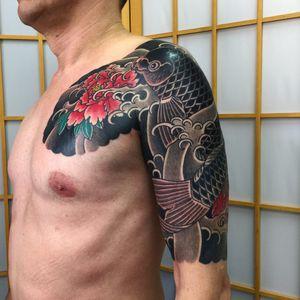 Tattoo by Sergey Buslay #SergeyBuslay #tattoodoambassador #Japanese #irezumi #waves #koi #fish #blackandgrey #color #peony #flower #floral #nature