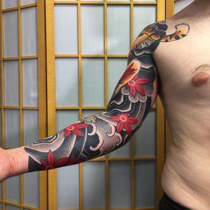 Tattoo by Sergey Buslay #SergeyBuslay #tattoodoambassador #Japanese #irezumi #waves #smoke #mapleleaves #leaves #nature #tiger #fall