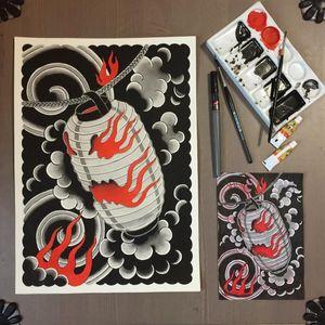 Tattoo by Sergey Buslay #SergeyBuslay #tattoodoambassador #Japanese #irezumi #illustration #lantern #fire #clouds #painting