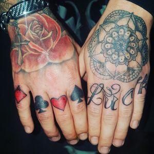#cardsuits #luck #gamble #tattoo #inked #fingertattoos #handtattoos #rose #mandella #handtattoos