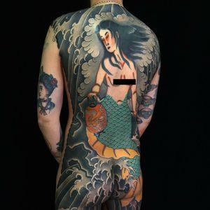 Tattoo by Sergey Buslay #SergeyBuslay #tattoodoambassador #Japanese #irezumi #lantern #dragon #mermaid #waves #clouds #lady #portrait #folklore #legend #mythicalcreature
