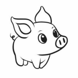 Cute little pig line drawing Inside right ankle